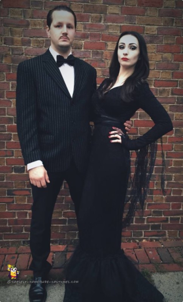Best DIY Halloween Costume Ideas - Cool Morticia and Gomez Addams Couple Costume - Do It Yourself Costumes for Women, Men, Teens, Adults and Couples. Fun, Easy, Clever, Cheap and Creative Costumes That Will Win The Contest