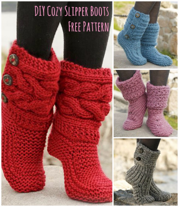 Easy Knitted Gifts - Cozy Slipper Boots Knitting Tutorial - Last Minute Knitted Gifts, Best Knitted Gifts For Anyone, Easy Knitted Gifts To Make, Knitted Gifts For Friends, Easy Knitting Patterns For Beginners, Quick Knitting Ideas #knitting #gifts #diygifts