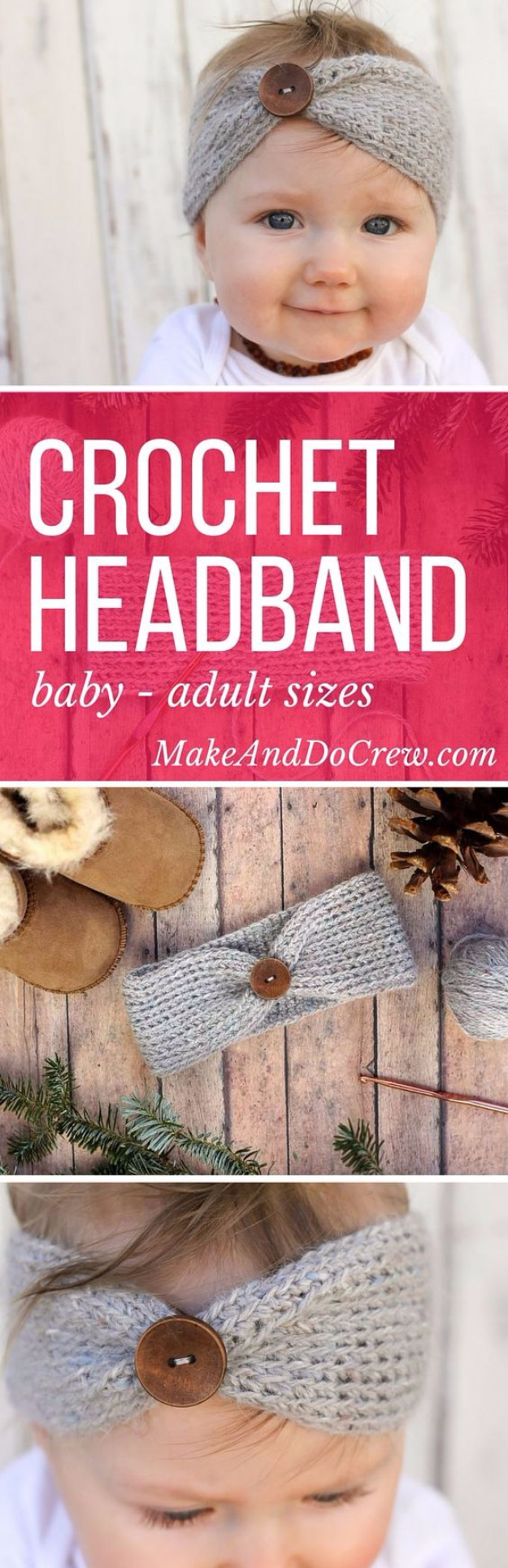 DIY Gifts for Babies - Crochet Baby Headband - Best DIY Gift Ideas for Baby Boys and Girls - Creative Projects to Sew, Make and Sell, Gift Baskets, Diaper Cakes and Presents for Baby Showers and New Parents. Cool Christmas and Birthday Ideas http://diyjoy.com/diy-gifts-for-baby
