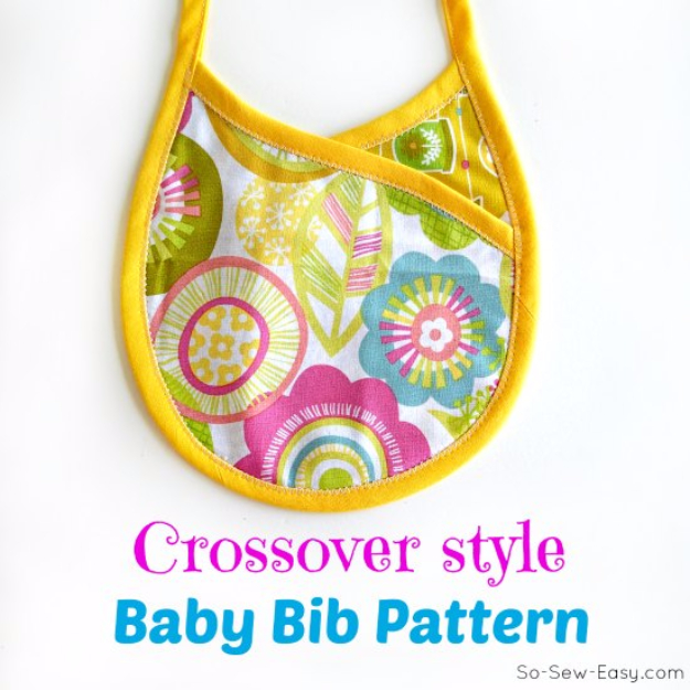 51 Things to Sew for Baby - Crossover Baby Bib - Cool Gifts For Baby, Easy Things To Sew And Sell, Quick Things To Sew For Baby, Easy Baby Sewing Projects For Beginners, Baby Items To Sew And Sell #baby #diy #diygifts
