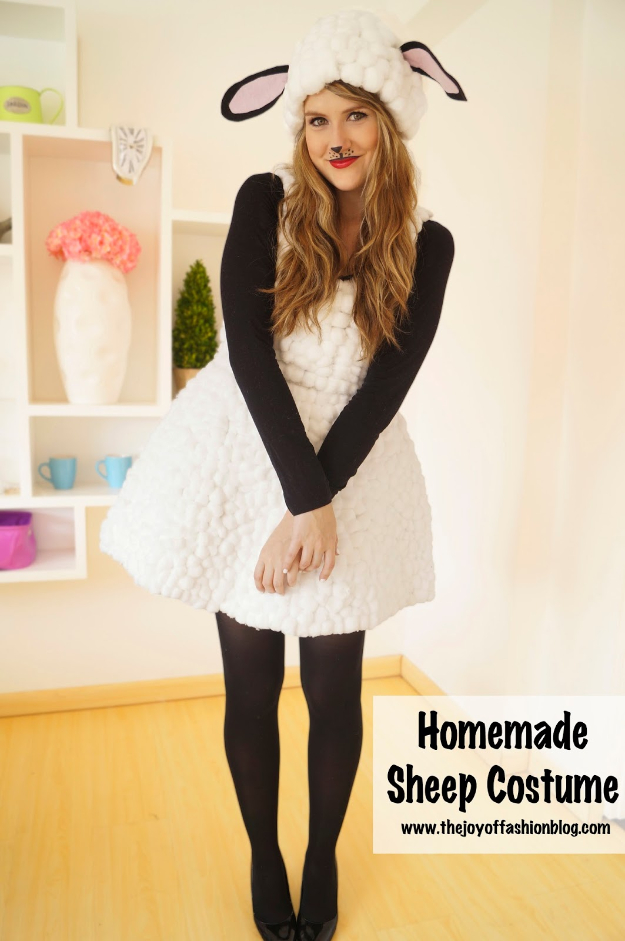 Best DIY Halloween Costume Ideas - Cute Homemade Lamb Costume - Do It Yourself Costumes for Women, Men, Teens, Adults and Couples. Fun, Easy, Clever, Cheap and Creative Costumes That Will Win The Contest