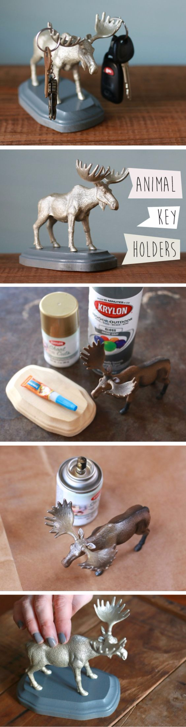33 Cool DIYs With Spray Paint - DIY Animal Key Holders - Easy Spray Paint Decor, Fun Do It Yourself Spray Paint Ideas, Cool Spray Paint Projects To Try, Upcycled And Repurposed, Restore Old Items With Spray Paint