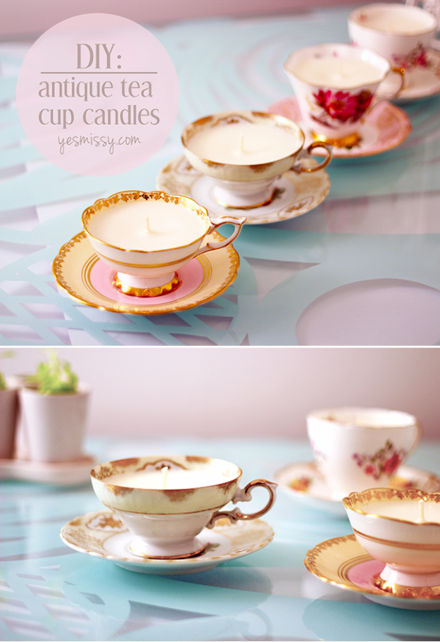 DIY Projects With Old Plates and Dishes - DIY Antique Teacup Candles - Creative Home Decor for Rustic, Vintage and Farmhouse Looks. Upcycle With These Best Crafts and Project Tutorials #diy #kitchen #crafts