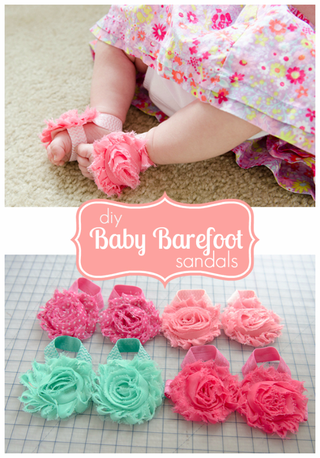 DIY Gifts for Babies - DIY Baby Barefoot Sandals - Best DIY Gift Ideas for Baby Boys and Girls - Creative Projects to Sew, Make and Sell, Gift Baskets, Diaper Cakes and Presents for Baby Showers and New Parents. Cool Christmas and Birthday Ideas http://diyjoy.com/diy-gifts-for-baby