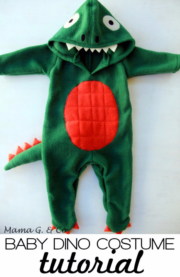 DIY Gifts for Babies - DIY Baby Dinosaur Costume - Best DIY Gift Ideas for Baby Boys and Girls - Creative Projects to Sew, Make and Sell, Gift Baskets, Diaper Cakes and Presents for Baby Showers and New Parents. Cool Christmas and Birthday Ideas #diy #babygifts #diygifts #baby