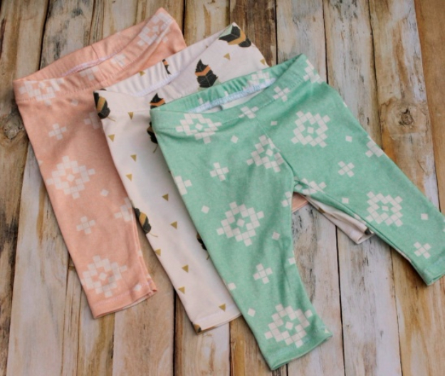 51 Things to Sew for Baby - DIY Baby Leggings - Cool Gifts For Baby, Easy Things To Sew And Sell, Quick Things To Sew For Baby, Easy Baby Sewing Projects For Beginners, Baby Items To Sew And Sell #baby #diy #diygifts