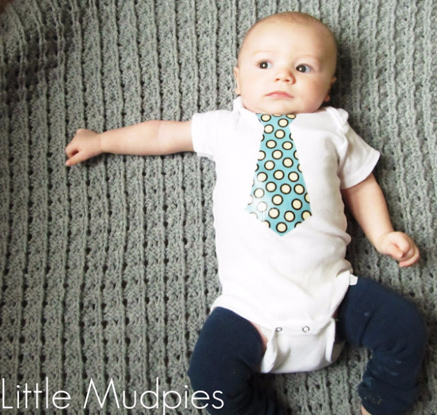DIY Gifts for Babies - DIY Baby Tie Onesie - Best DIY Gift Ideas for Baby Boys and Girls - Creative Projects to Sew, Make and Sell, Gift Baskets, Diaper Cakes and Presents for Baby Showers and New Parents. Cool Christmas and Birthday Ideas #diy #babygifts #diygifts #baby