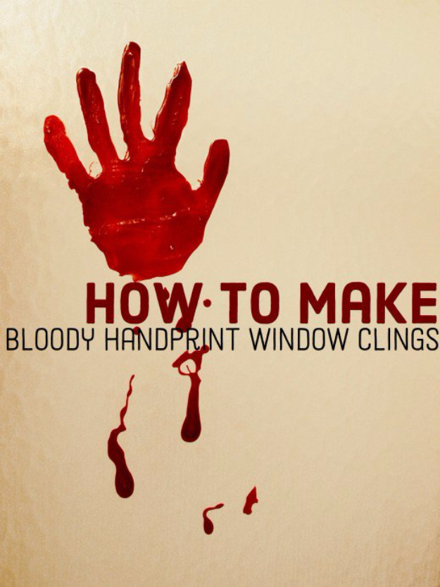 DIY Halloween Decorations - DIY Bloody Handprint Window Clings - Best Easy, Cheap and Quick Halloween Decor Ideas and Crafts for Inside and Outside Your Home - Scary, Creepy Cute and Fun Outdoor Project Tutorials