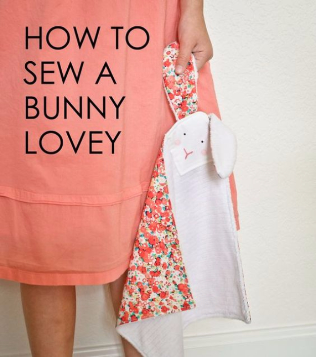 51 Things to Sew for Baby - DIY Bunny Lovey - Cool Gifts For Baby, Easy Things To Sew And Sell, Quick Things To Sew For Baby, Easy Baby Sewing Projects For Beginners, Baby Items To Sew And Sell #baby #diy #diygifts