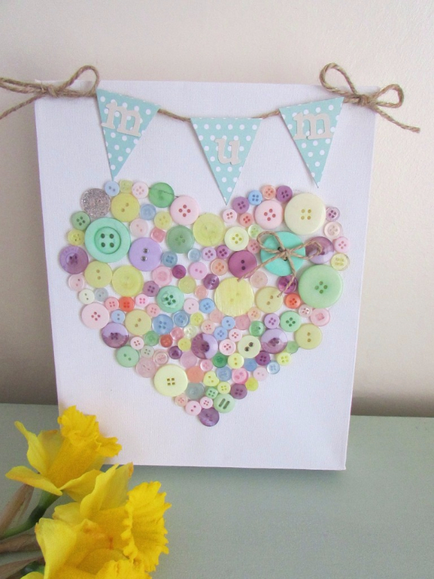 DIY Gifts for Mom - DIY Bunting And Button Canvas - Best Craft Projects and Gift Ideas You Can Make for Your Mother - Last Minute Presents for Birthday and Christmas - Creative Photo Projects, Bath Ideas, Gift Baskets and Thoughtful Things to Give Mothers and Moms http://diyjoy.com/diy-gifts-for-mom