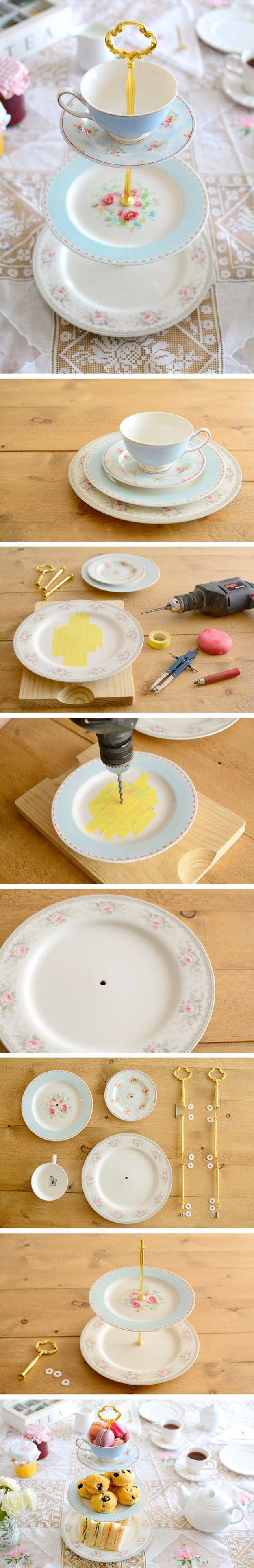 DIY Projects With Old Plates and Dishes - DIY Cake Stand - Creative Home Decor for Rustic, Vintage and Farmhouse Looks. Upcycle With These Best Crafts and Project Tutorials #diy #kitchen #crafts
