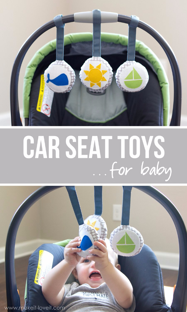 DIY Gifts for Babies - DIY Car Seat Toys For Babies - Best DIY Gift Ideas for Baby Boys and Girls - Creative Projects to Sew, Make and Sell, Gift Baskets, Diaper Cakes and Presents for Baby Showers and New Parents. Cool Christmas and Birthday Ideas http://diyjoy.com/diy-gifts-for-baby
