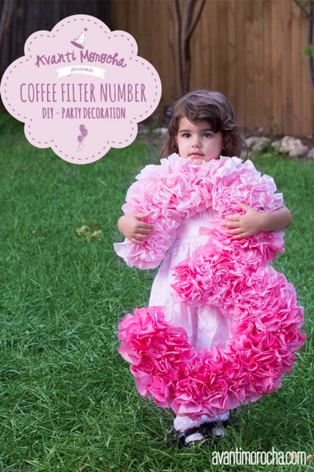 39 Easy DIY Party Decorations - DIY Coffee Filter Number - Quick And Cheap Party Decors, Easy Ideas For DIY Party Decor, Birthday Decorations, Budget Do It Yourself Party Decorations #diyparties #party #partydecor #parties