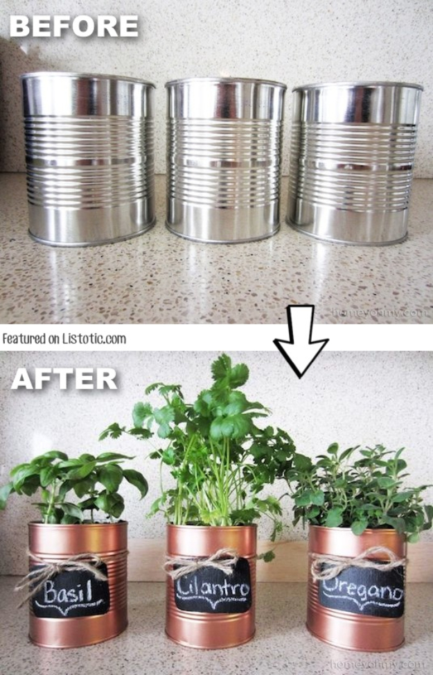 33 Cool DIYs With Spray Paint - DIY Copper Tin Can Planters - Easy Spray Paint Decor, Fun Do It Yourself Spray Paint Ideas, Cool Spray Paint Projects To Try, Upcycled And Repurposed, Restore Old Items With Spray Paint