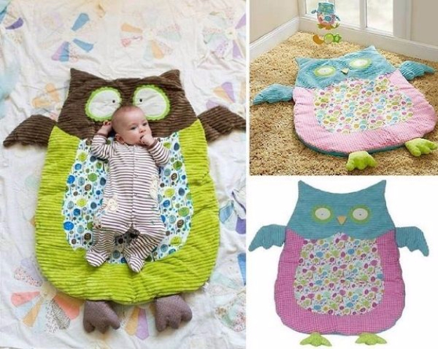 DIY Gifts for Babies - DIY Cute Owl Mat - Best DIY Gift Ideas for Baby Boys and Girls - Creative Projects to Sew, Make and Sell, Gift Baskets, Diaper Cakes and Presents for Baby Showers and New Parents. Cool Christmas and Birthday Ideas http://diyjoy.com/diy-gifts-for-baby