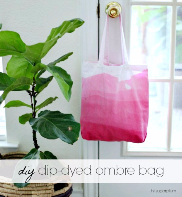 DIY Gifts for Mom - DIY Dip Dyed Ombre Bag - Best Craft Projects and Gift Ideas You Can Make for Your Mother - Last Minute Presents for Birthday and Christmas - Creative Photo Projects, Bath Ideas, Gift Baskets and Thoughtful Things to Give Mothers and Moms #diygifts #giftsformom