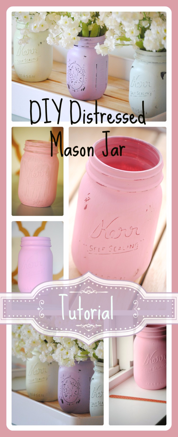 Mason Jar Crafts You Can Make In Under an Hour - DIY Distressed Mason Jar - Quick Mason Jar DIY Projects that Make Cool Home Decor and Awesome DIY Gifts - Best Creative Ideas for Mason Jars with Step By Step Tutorials and Instructions - For Teens, For Home, For Gifts, For Kids, For Summer, For Fall  #masonjarcrafts #easycrafts