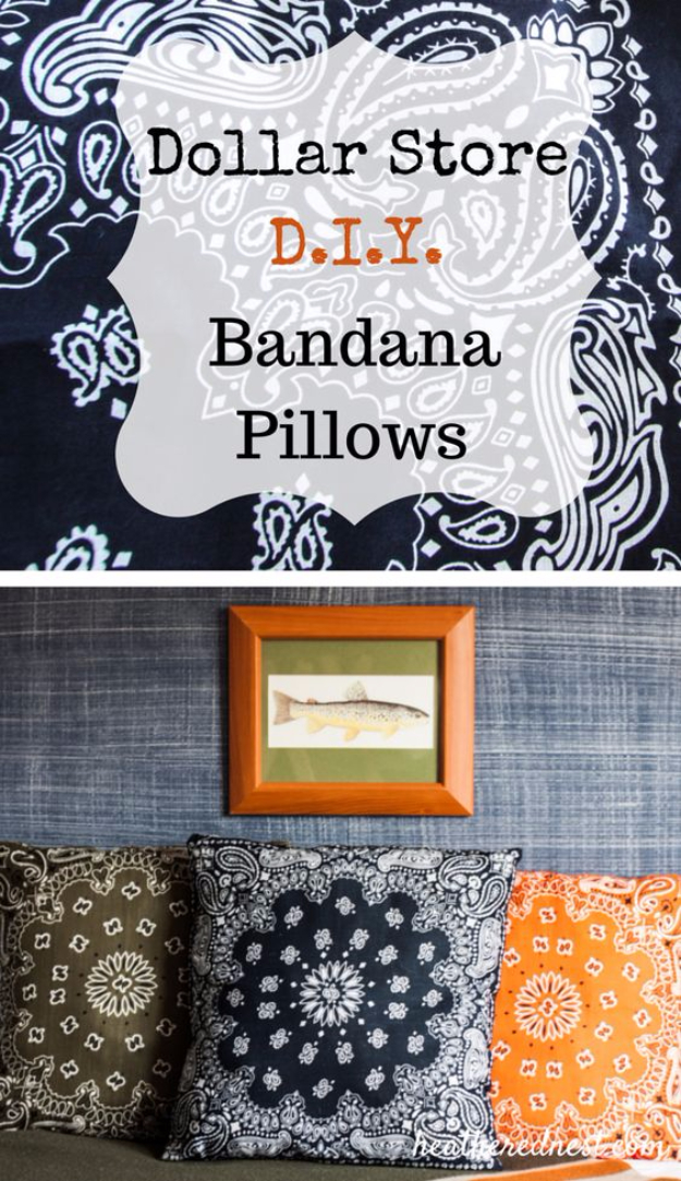 Easy Dollar Store Crafts - DIY Dollar Store Bandana Pillows - Quick And Cheap Crafts To Make, Dollar Store Craft Ideas To Make And Sell, Cute Dollar Store Do It Yourself Projects, Cheap Craft Ideas, Dollar Sore Decor,