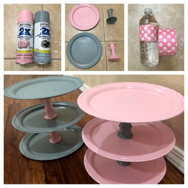 33 Cool DIYs With Spray Paint - DIY Dollar Store Cupcake Stands - Easy Spray Paint Decor, Fun Do It Yourself Spray Paint Ideas, Cool Spray Paint Projects To Try, Upcycled And Repurposed, Restore Old Items With Spray Paint