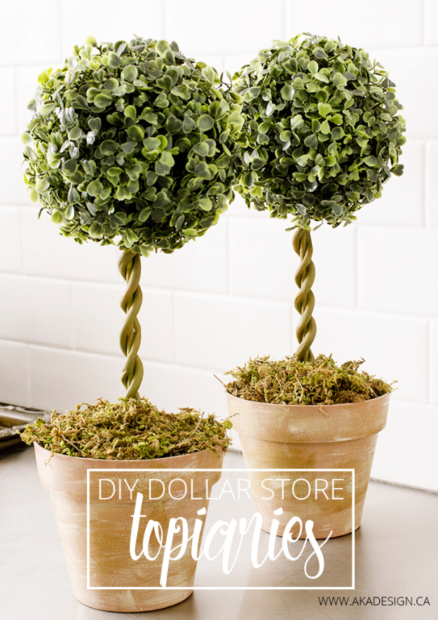 Easy Dollar Store Crafts - DIY Dollar Store Topiaries - Quick And Cheap Crafts To Make, Dollar Store Craft Ideas To Make And Sell, Cute Dollar Store Do It Yourself Projects, Cheap Craft Ideas, Dollar Sore Decor,
