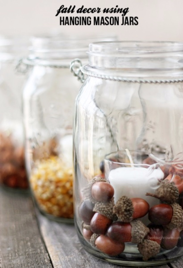 Best Mason Jar Crafts for Fall - DIY Fall Decor Using Hanging Mason Jars - DIY Mason Jar Ideas for Centerpieces, Wedding Decorations, Homemade Gifts, Craft Projects with Leaves, Flowers and Burlap, Painted Art, Candles and Luminaries for Cool Home Decor