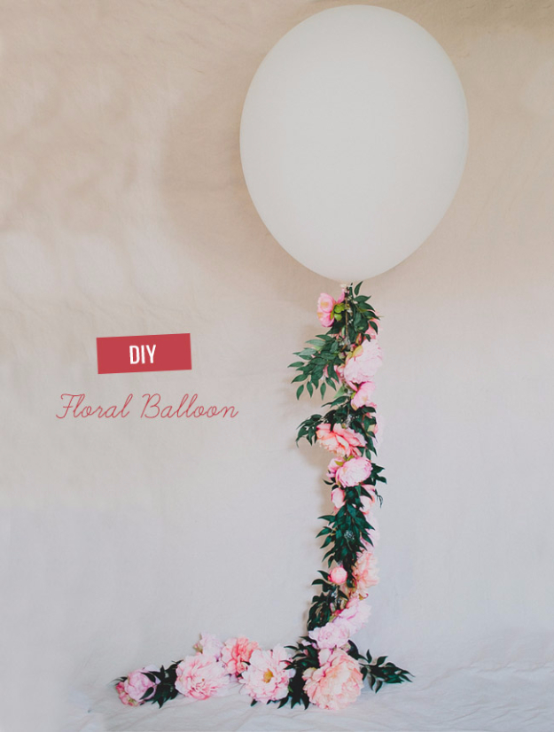 39 Easy DIY Party Decorations - DIY Floral Balloon - Quick And Cheap Party Decors, Easy Ideas For DIY Party Decor, Birthday Decorations, Budget Do It Yourself Party Decorations #diyparties #party #partydecor #parties