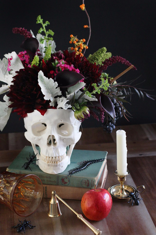 DIY Halloween Decorations - DIY Floral Skull Centerpiece - Best Easy, Cheap and Quick Halloween Decor Ideas and Crafts for Inside and Outside Your Home - Scary, Creepy Cute and Fun Outdoor Project Tutorials http://diyjoy.com/cheap-diy-halloween-decorations