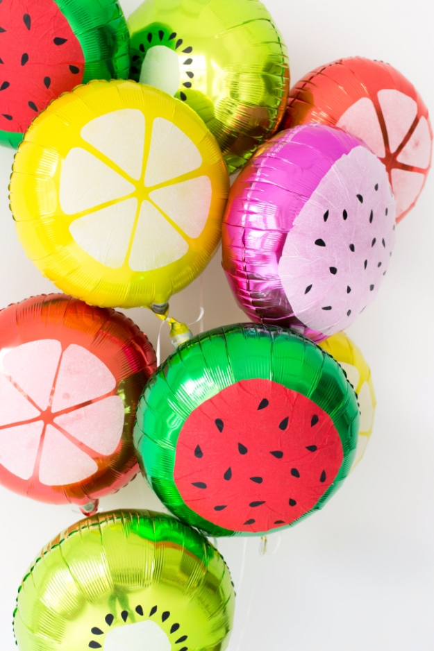 39 Easy DIY Party Decorations - DIY Fruit Slice Balloons - Quick And Cheap Party Decors, Easy Ideas For DIY Party Decor, Birthday Decorations, Budget Do It Yourself Party Decorations #diyparties #party #partydecor #parties