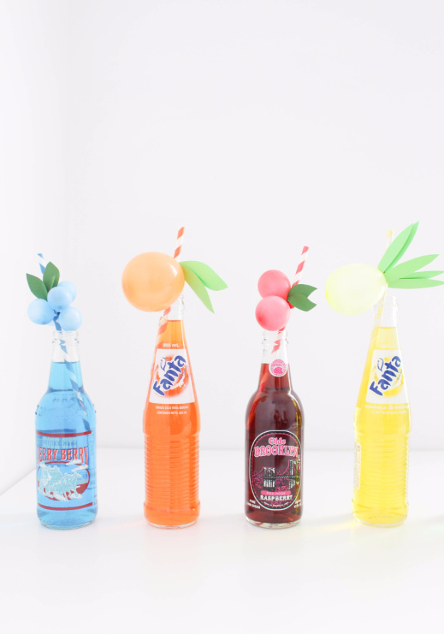 39 Easy DIY Party Decorations - DIY Fruity Balloon Straws - Quick And Cheap Party Decors, Easy Ideas For DIY Party Decor, Birthday Decorations, Budget Do It Yourself Party Decorations #diyparties #party #partydecor #parties