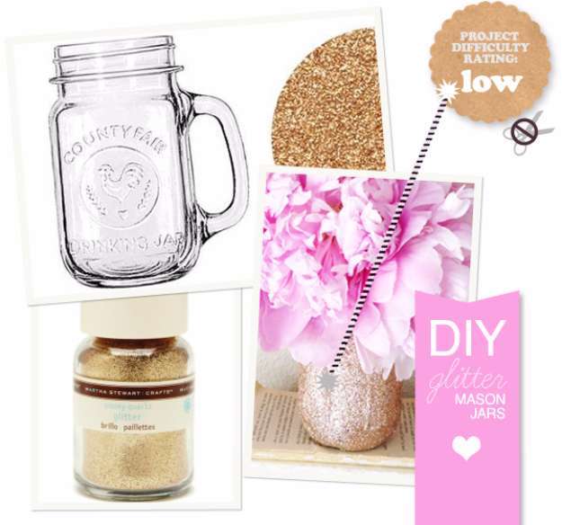 42 DIY Room Decor for Girls - DIY Glitter Mason Jar - Awesome Do It Yourself Room Decor For Girls, Room Decorating Ideas, Creative Room Decor For Girls, Bedroom Accessories, Cute Room Decor For Girls
