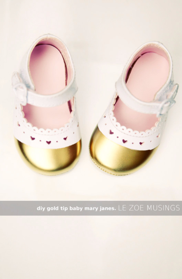 DIY Gifts for Babies - DIY Gold Tip Baby Mary Janes - Best DIY Gift Ideas for Baby Boys and Girls - Creative Projects to Sew, Make and Sell, Gift Baskets, Diaper Cakes and Presents for Baby Showers and New Parents. Cool Christmas and Birthday Ideas http://diyjoy.com/diy-gifts-for-baby