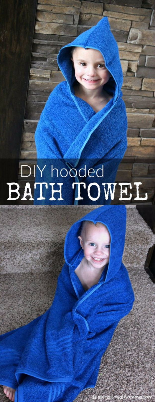 51 Things to Sew for Baby - DIY Hooded Bath Towel - Cool Gifts For Baby, Easy Things To Sew And Sell, Quick Things To Sew For Baby, Easy Baby Sewing Projects For Beginners, Baby Items To Sew And Sell #baby #diy #diygifts