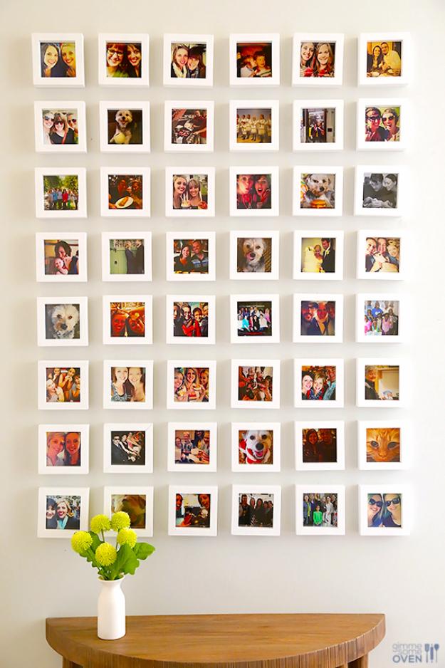 42 DIY Room Decor for Girls - DIY Instagram Wall - Awesome Do It Yourself Room Decor For Girls, Room Decorating Ideas, Creative Room Decor For Girls, Bedroom Accessories, Cute Room Decor For Girls