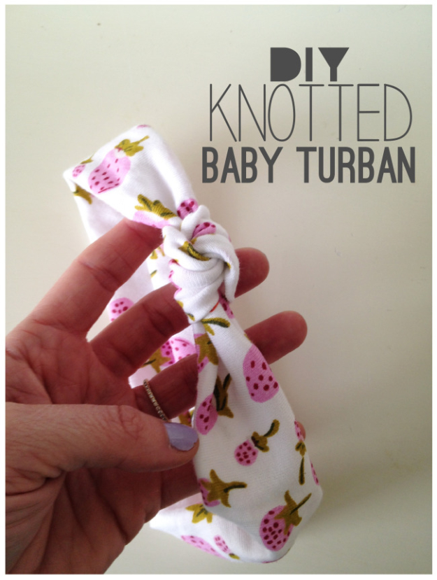 DIY Gifts for Babies - DIY Knotted Baby Turban - Best DIY Gift Ideas for Baby Boys and Girls - Creative Projects to Sew, Make and Sell, Gift Baskets, Diaper Cakes and Presents for Baby Showers and New Parents. Cool Christmas and Birthday Ideas #diy #babygifts #diygifts #baby