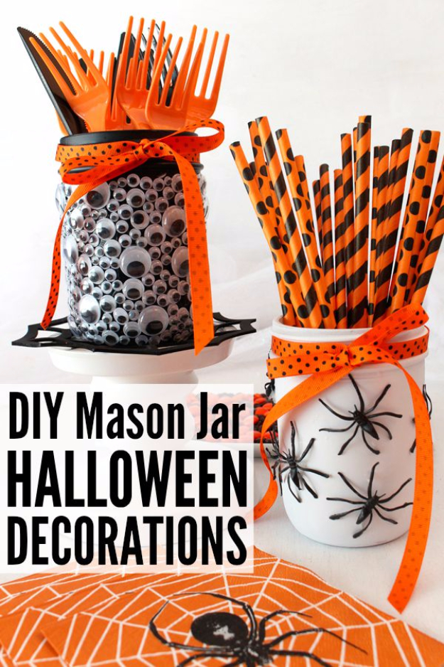 DIY Halloween Decorations - DIY Mason Jar Halloween Decorations - Best Easy, Cheap and Quick Halloween Decor Ideas and Crafts for Inside and Outside Your Home - Scary, Creepy Cute and Fun Outdoor Project Tutorials http://diyjoy.com/cheap-diy-halloween-decorations