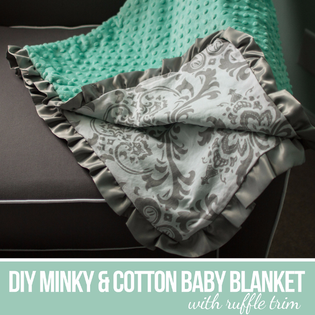DIY Gifts for Babies - DIY Minky And Cotton Baby Blanket With Ruffle Trim - Best DIY Gift Ideas for Baby Boys and Girls - Creative Projects to Sew, Make and Sell, Gift Baskets, Diaper Cakes and Presents for Baby Showers and New Parents. Cool Christmas and Birthday Ideas  #diy #babygifts #diygifts #baby