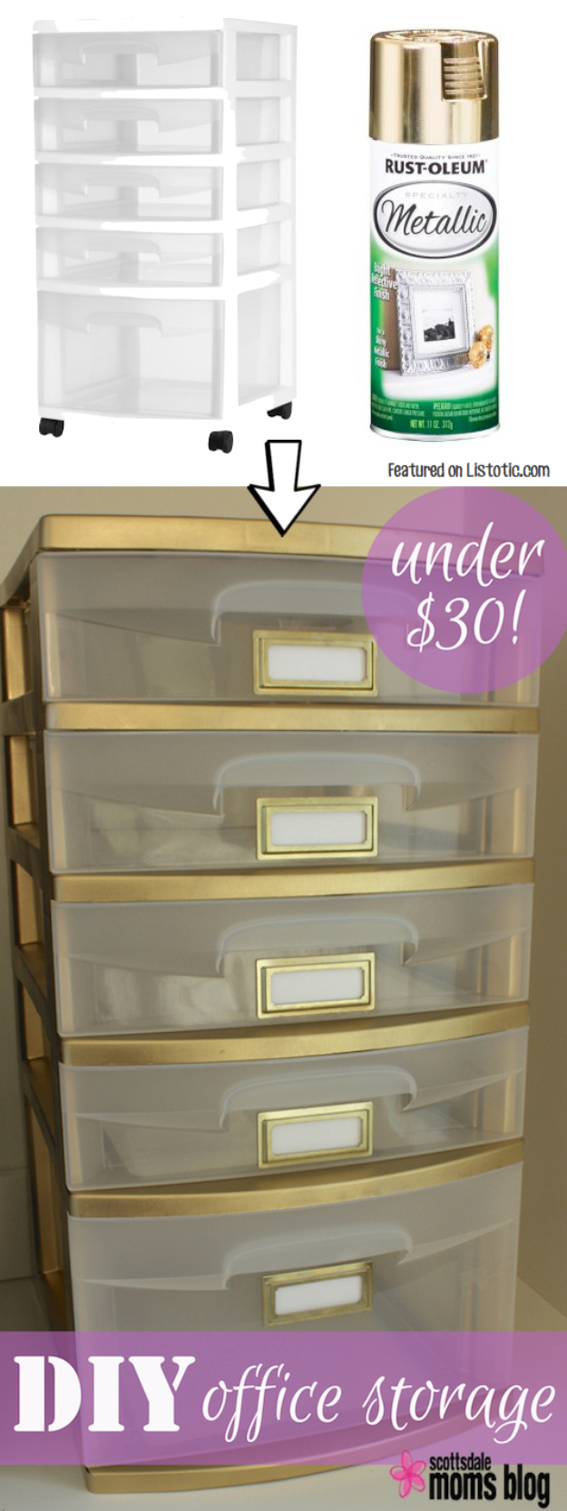 33 Cool DIYs With Spray Paint - DIY Office Storage - Easy Spray Paint Decor, Fun Do It Yourself Spray Paint Ideas, Cool Spray Paint Projects To Try, Upcycled And Repurposed, Restore Old Items With Spray Paint