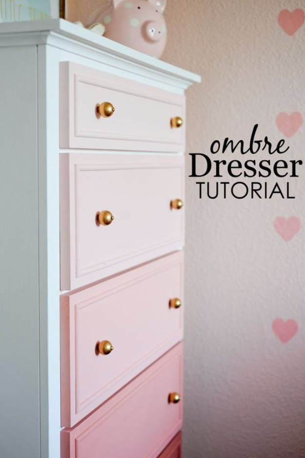 42 DIY Room Decor for Girls - DIY Ombre Dresser - Awesome Do It Yourself Room Decor For Girls, Room Decorating Ideas, Creative Room Decor For Girls, Bedroom Accessories, Cute Room Decor For Girls
