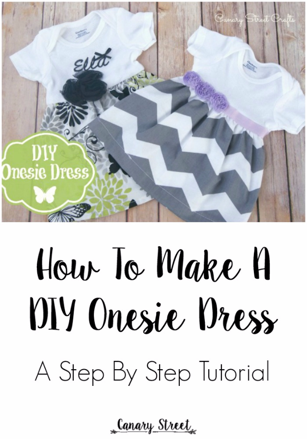 51 Things to Sew for Baby - DIY Onesie Dress - Cool Gifts For Baby, Easy Things To Sew And Sell, Quick Things To Sew For Baby, Easy Baby Sewing Projects For Beginners, Baby Items To Sew And Sell #baby #diy #diygifts