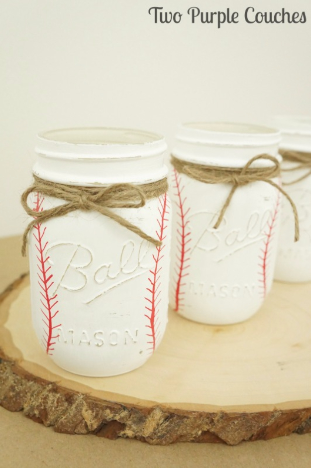 Mason Jar Crafts You Can Make In Under an Hour -DIY Painted Baseball Mason Jars - Quick Mason Jar DIY Projects that Make Cool Home Decor and Awesome DIY Gifts - Best Creative Ideas for Mason Jars with Step By Step Tutorials and Instructions - For Teens, For Home, For Gifts, For Kids, For Summer, For Fall  #masonjarcrafts #easycrafts