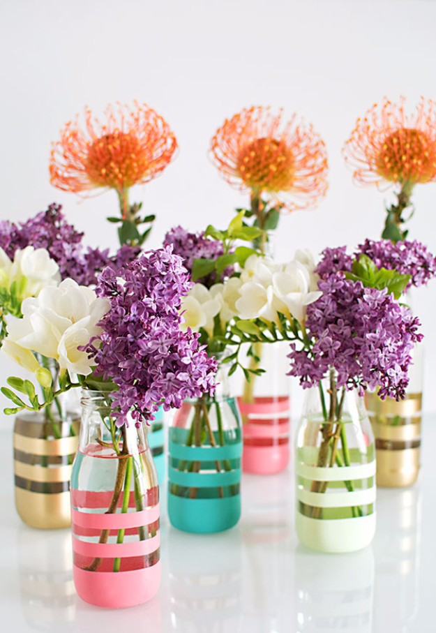 39 Easy DIY Party Decorations - DIY Painted Bottles - Quick And Cheap Party Decors, Easy Ideas For DIY Party Decor, Birthday Decorations, Budget Do It Yourself Party Decorations #diyparties #party #partydecor #parties