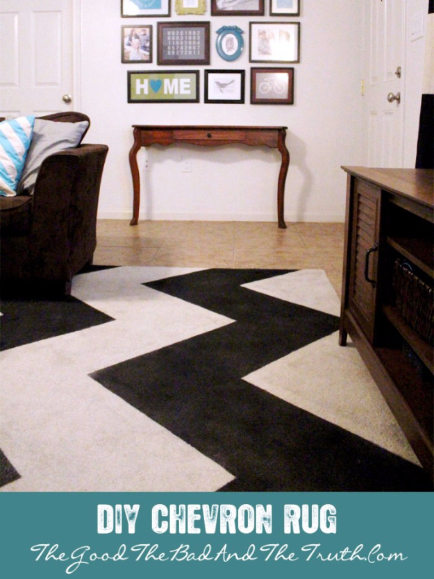 33 Cool DIYs With Spray Paint - DIY Painted Chevron Stripe Rug - Easy Spray Paint Decor, Fun Do It Yourself Spray Paint Ideas, Cool Spray Paint Projects To Try, Upcycled And Repurposed, Restore Old Items With Spray Paint