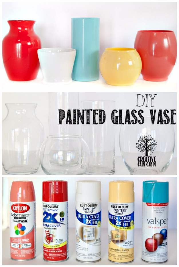 33 Cool DIYs With Spray Paint - DIY Painted Glass Vase - Easy Spray Paint Decor, Fun Do It Yourself Spray Paint Ideas, Cool Spray Paint Projects To Try, Upcycled And Repurposed, Restore Old Items With Spray Paint