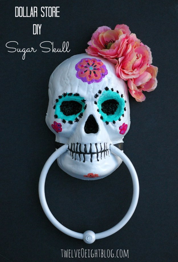 DIY Halloween Decorations - DIY Painted Sugar Skull - Best Easy, Cheap and Quick Halloween Decor Ideas and Crafts for Inside and Outside Your Home - Scary, Creepy Cute and Fun Outdoor Project Tutorials