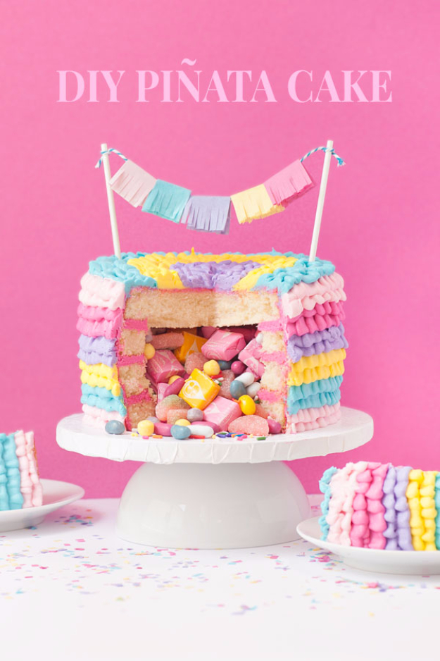 41 Best Homemade Birthday Cake Recipes - DIY Pinata Cake - Birthday Cake Recipes From Scratch, Delicious Birthday Cake Recipes To Make, Quick And Easy Birthday Cake Recipes, Awesome Birthday Cake Ideas http://diyjoy.com/best-birthday-cake-recipes