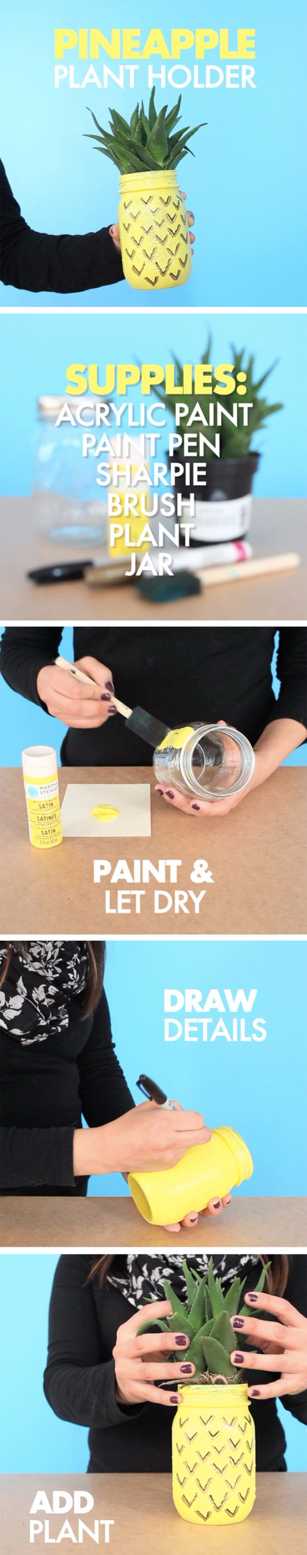 Mason Jar Crafts You Can Make In Under an Hour - DIY Pineapple Mason Jar Planter- Quick Mason Jar DIY Projects that Make Cool Home Decor and Awesome DIY Gifts - Best Creative Ideas for Mason Jars with Step By Step Tutorials and Instructions - For Teens, For Home, For Gifts, For Kids, For Summer, For Fall #masonjarcrafts #easycrafts