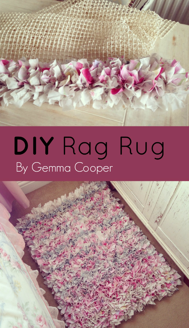 42 DIY Room Decor for Girls - DIY Rag Rug - Awesome Do It Yourself Room Decor For Girls, Room Decorating Ideas, Creative Room Decor For Girls, Bedroom Accessories, Cute Room Decor For Girls