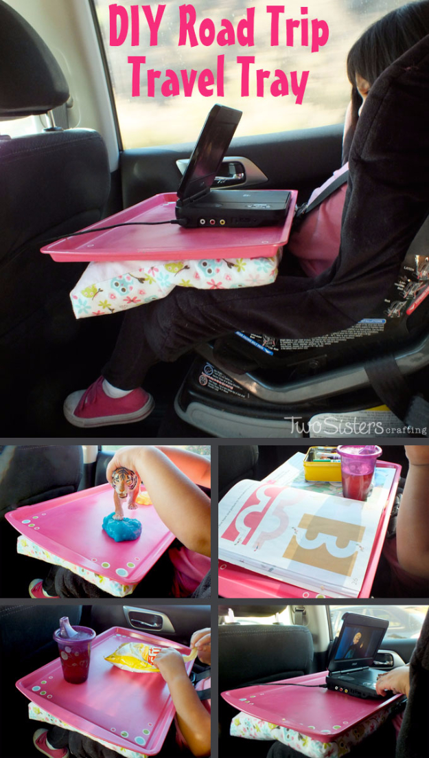Car Organization Ideas - DIY Road Trip Travel Tray - DIY Tips and Tricks for Organizing Cars - Dollar Store Storage Projects for Mom, Kids and Teens - Keep Your Car, Truck or SUV Clean On A Road Trip With These solutions for interiors and Trunk, Front Seat - Do It Yourself Caddy and Easy, Cool Lifehacks #car #diycar #organizingideas