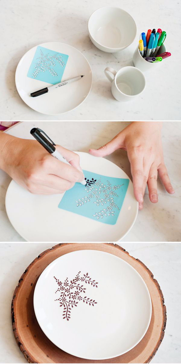 DIY Gifts for Mom - DIY Sharpie Dinnerware - Best Craft Projects and Gift Ideas You Can Make for Your Mother - Last Minute Presents for Birthday and Christmas - Creative Photo Projects, Bath Ideas, Gift Baskets and Thoughtful Things to Give Mothers and Moms #diygifts #giftsformom