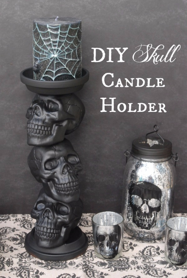 DIY Halloween Decorations - DIY Skull Candle Holder - Best Easy, Cheap and Quick Halloween Decor Ideas and Crafts for Inside and Outside Your Home - Scary, Creepy Cute and Fun Outdoor Project Tutorials